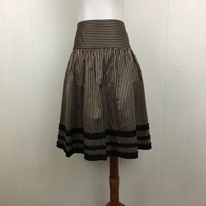 Nanette Lepore Silk Striped A-Line Skirt